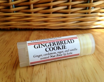 Gingerbread Cookie Lip Balm, lip butter, nut free lip balm, winter lip balm, Christmas lip balm, gingerbread lip balm, holiday lip balm