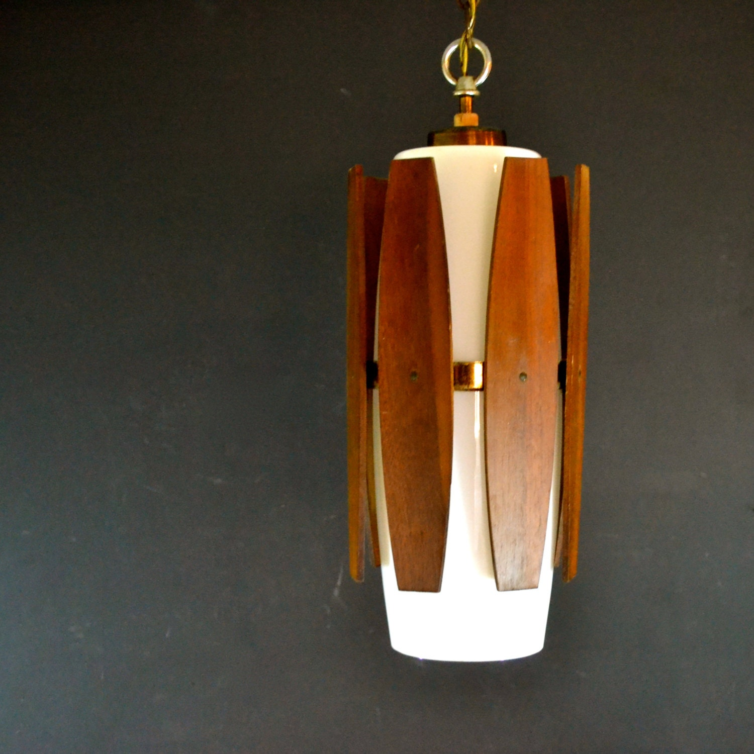 Danish modern hanging light fixture teak and white glass for Danish modern light fixtures