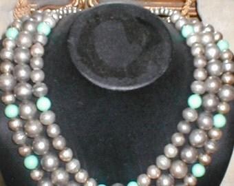 Vintage  three strand Bead Necklace