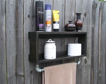 Industrial Rustic Bathroom Wall shelf With 18 Inch Metal Towel Bar