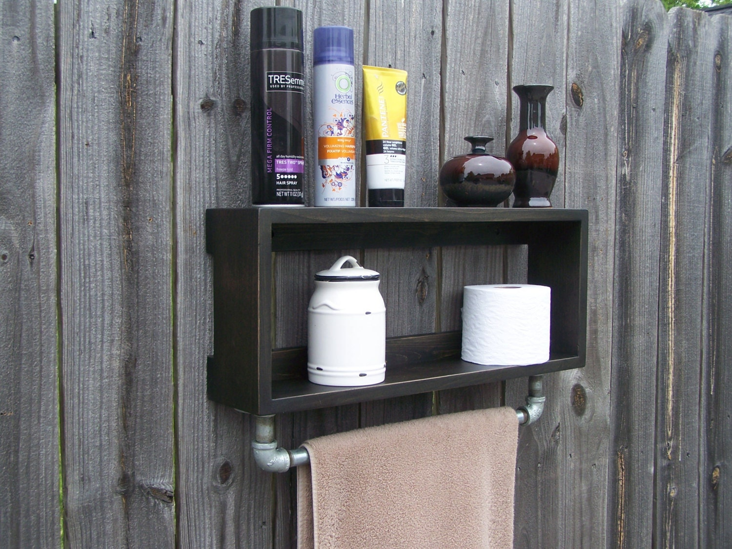 Industrial Rustic Bathroom Wall Shelf With 18 Inch Metal Towel