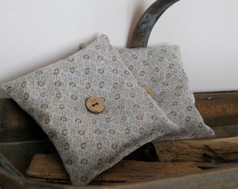 Rustic Country Decor Lavender Sachets, For the Man, Lavender Scented Pillows, Gray, Brown