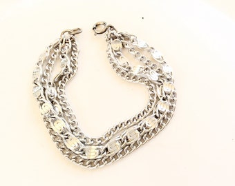 "multiple chains silver tone bracelet vintage costume jewelry light weight 7-1/2"" long"