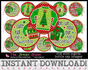 "Ugly Christmas Sweaters - INSTANT DOWNLOAD 1"" Bottle Cap Images 4x6 - 751"