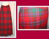 1970s Red Tartan Plaid Vintage Maxi Skirt by Aljean Canada