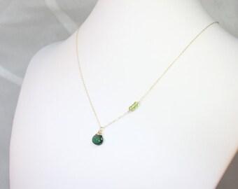 Green Apatite Peridot Gold Gemstone Necklace