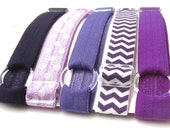 Set of 5-Purple Adjustable Elastic Headband, Hair Band, Baby Headband, Adult Headband, Sport Headband, Workout Headband, Running Headband