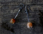 Carnelian flowers - sterling silver dangle earrings