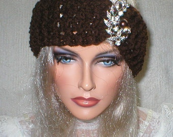 Crochet Womens Fall Winter Vintage Style Reproduction Rhinestones Brooch Head Wrap Turban Ear Warmer
