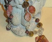 Tigerskin Glass with Cherry Glass and Agate with Sterling