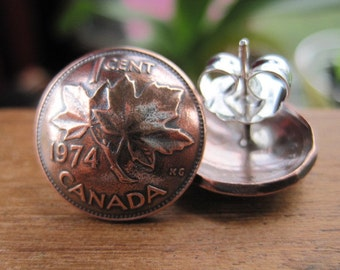 Canada Canadian Penny Copper Maple Leaf Stud Earrings with Sterling Silver Posts and Silverplate Earnuts MADE TO ORDER.