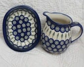 Blue Pitcher and Basin - Boleslawiec Pottery Circles and Leaves Blue and Red Design