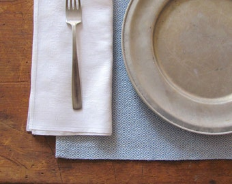 Modern Rustic Scandinavian Farmhouse Cottage Hand Woven Placemat, Danish Blue Cotton Coastal Beach Dining Table Mat, Colonial Country Decor