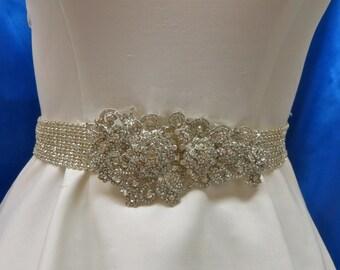 Rhinestone Bridal Sash, Wedding Gown Sash, Crystal Bridal Sash,  Wedding Bridal Belt