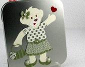 Teddy Bear on Tin Box with Magnetic Clothes Handmade Sweet Polar Bear Girl Build A Bear Teddy with Wardrobe