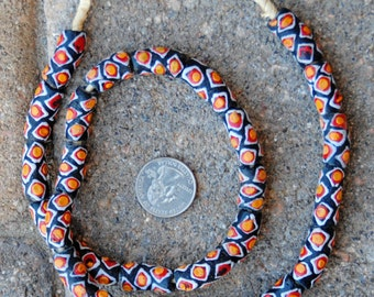 Krobo Beads: Black/Red/Orange 10x22mm