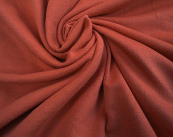 """68"""" Wide French Terry Pumpkin Orange Cotton Jersey Knit Fabric by Yard Stretch for Apparel Sewing Dress Tshirt Yardage ST"""