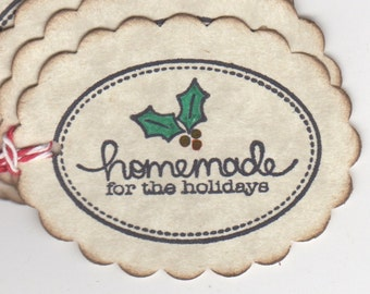 Christmas Tags, Baked Goods Cookie Tags Labels, Christmas Gift Tags, Homemade For The Holidays Labels - Vintage Style Set Of 6 Tags