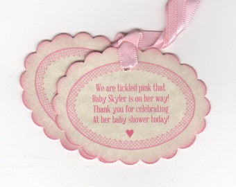 20 Baby Shower Tags, Baby Girl Nail Polish Favor Gift Tags, Tickled Pink Baby Tags -Vintage Style
