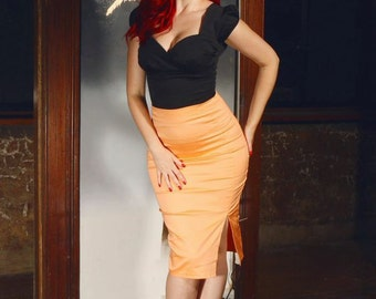 ON SALE Mango pinup side split pencil skirt