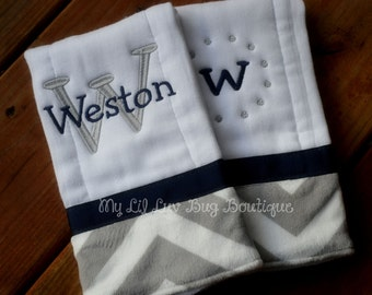 Personalized Burp cloth set prefold diaper- navy blue with grey and white chevron print- set of two