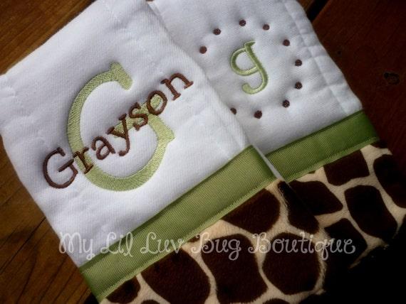 Personalized Burp cloths set of two prefold diaper-  with Giraffe print minky- baby burp cloth sage green