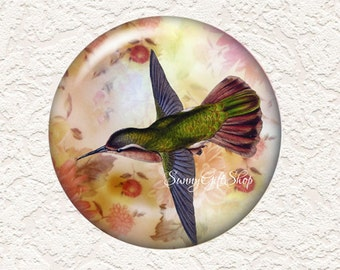 3.5 Inch Large  Pocket Mirror Hummingbird with Black Velour Bag  Buy 3 Get 1 Free  011LM