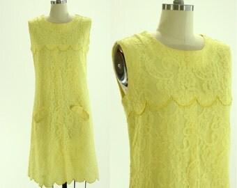 1960's Yellow Lace Dress M L Scallop
