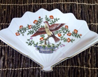 Aviary Fan Shaped Porcelain Bird Dish UNDER 20