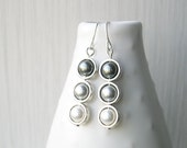 Pearl Dangle Earrings - Modern Jewelry, Gray, Grey, White, Ombre, Silver, June Birthstone, Contemporary, Bridal, Bridesmaids Gift, Titanium