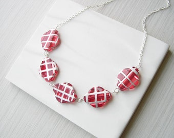 Red Necklace - Plaid Jewelry, Silver, Unusual, Grunge, Punk, Holiday, Vintage Beads