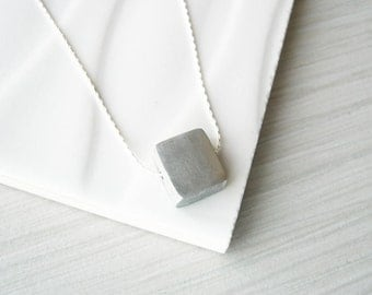 Modern Silver Necklace - Simple Jewelry, Contemporary, Aluminum, 10th Wedding Anniversary Gift, Tenth