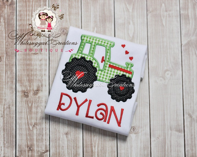 Boys Tractor Shirt with Hearts, Custom Personalized Boy Shirt, Baby Boy Valentine, 1st Valentine's Day Outfit, Heart Truck