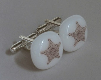 Law Enforcement Shield cufflinks - Fused glass - silver plated hardware