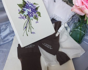Vintage Cantrece Stockings / Saks Fifth Avenue BURLESQUE Stockings / New in Box, Bon-Coffee 2 pair, size 10 to 10.5