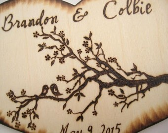 LOVE BIRDS Wedding Cake Topper - Rustic Tree Branch - Silhouette cake topper - Country Wedding - Wood Heart Cake Topper - Personalizable