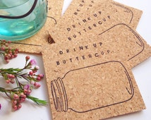 Drink Up Mason Jar Coasters - Set of 6 Country Living Cork Hand Stamped Home Decor Buttercup Trendy Kitchen Rustic Shabby Chic Entertaining