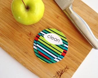 Ocean Stripe Clean Dirty Dishwasher Magnet - Chore Chart Aid Housewarming Gift Home Decor Cool Tones Blue Green Kitchen Organization Bright