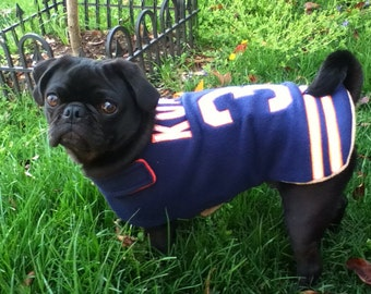 Up to 30 lbs, Team Jackets, small dog personalized, football, dog jacket, dog coat, Made in USA