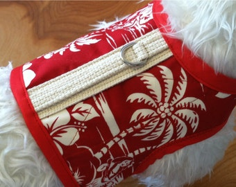 Sale, Hawiian Print Small Dog Harness, red, palm trees, hibiscus, Made in USA