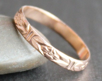 14k Rose Gold Vermeil Flower Ring - READY TO SHIP (Various Sizes)