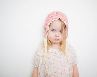 Pink Girl Toddler Bonnet in Merino - Crochet Girl's Hat, Toddler Hat for Girls, Crochet Bonnet, 2T - 4T (Skyla) READY TO SHIP