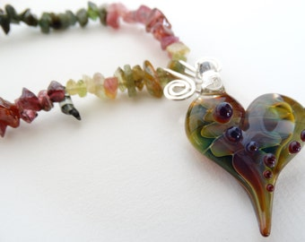Tourmaline necklace, borosilicate heart pendant, some agate & jade beads,gemstone,  sterling silver link and clasp
