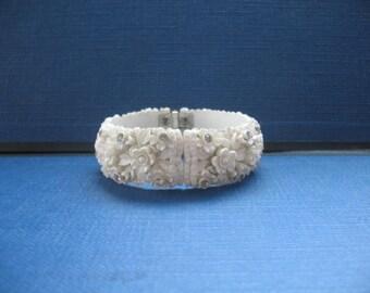 Vintage Carved Celluloid Clamper Bracelet.......Rhinestones