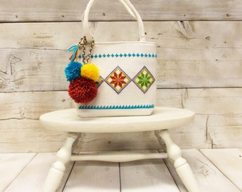 Vintage Ethnic Embroidered Handbag---  Hippie Chic Purse with PomPoms--- Cross Stitch Embroidery on Linen