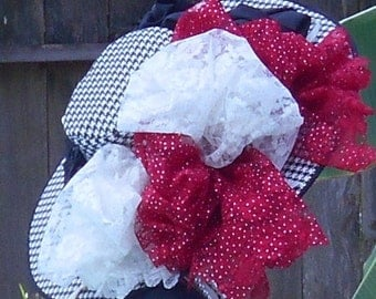 SALE! Black and White Houndstooth Hat Over-the-Top with Black Satin Roses Red and White Lace Bows Absolutely BODACIOUS