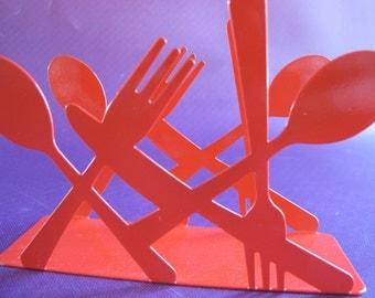Retro RED metal utensil NAPKIN letter Holder