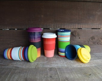 One Silicone Sleeve for Ceramic Travel Mugs - Pick Your Color - Black / Red / White / Green - Mugs and Lids Sold Seperately