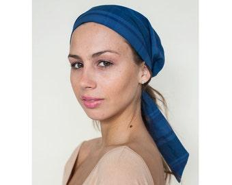 Blue Headscarf, fashion Head Scarves, Hair Protection Scarf, Light Cotton Head Tie, Boho Head Scarf, Headwear