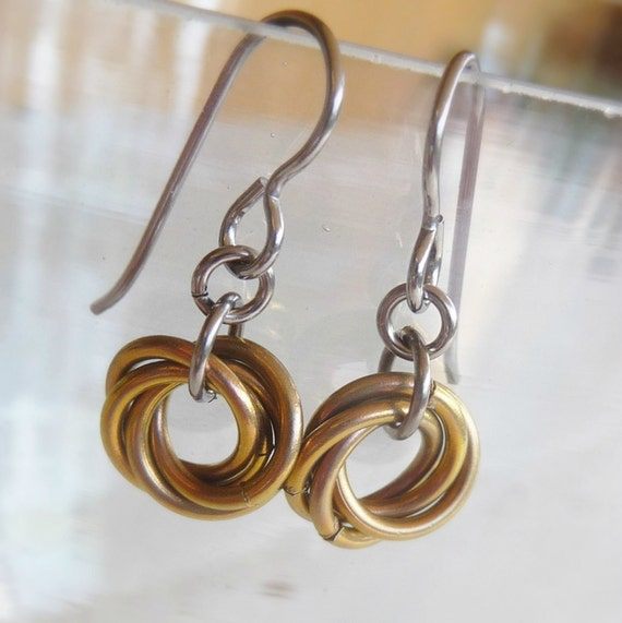 gold niobium earrings hypoallergenic by nonitajewelry